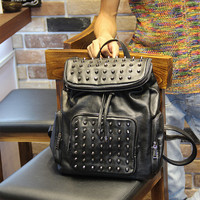 Men's Black Studded Laptop Bag Leather Backpack Travel Bag
