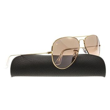 LMF8UH Ray-Ban AVIATOR GRADIENT 55mm Gold w/ Silver, Pink Mirror Sunglasses