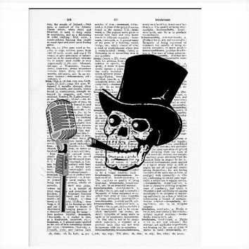 Vintage Dictionary Paper - Skeleton MC Dictionary Art Print