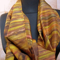 Hand Painted Silk Scarf Accessory- Brown Ocher Yellow Black- 11 X 60- unique gift woman-Artisan made NY Hudson Valley- One of a Kind