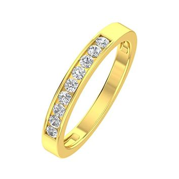 CERTIFIED 1/4ctw Diamond Channel Wedding Band in 10k Gold