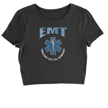EMT Emergency Medical Technician With Flag Cropped T-Shirt