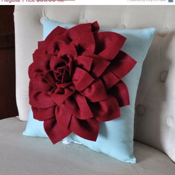 "MOTHERS DAY SALE Shabby Chic - Dahlia Felt Flower Decorative Pillow  -Ruby Red on Aqua - 14"" x 14"" -Poinsettia -Pick your Colors- Mum Flower"