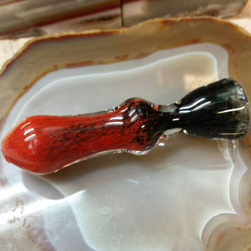 Black red glass chillum borosilicate frit fade bat Pipe pipes