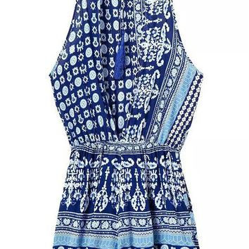 Boho Blue Printed Lace Up Romper