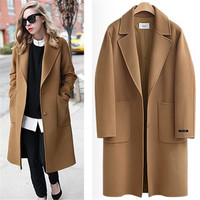 Camel Black US 2017 Fall / Winter Women Notched lapel Single Button Simple Long Coat ZA style Career Overcoat manteau femme casaco feminino