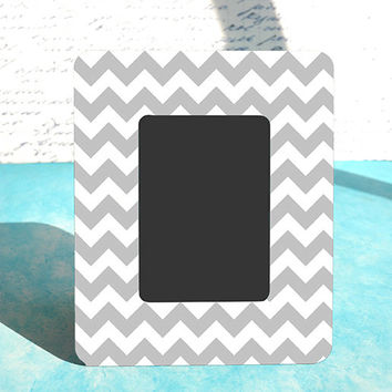 Gray Chevron Custom Wood Picture Frame, Gender Neutral Baby Shower Gift, Matches any Decor
