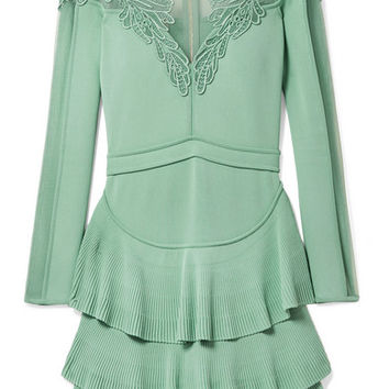Elie Saab - Appliquéd tulle-paneled stretch-knit mini dress