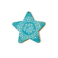 Star Christmas Ornament turquoise blue and white ornament handpainted wood ornament star shape