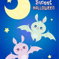 """Halloween Nursery Instant Download Printable art cute sweet girl and boy candy bats in the night sky next to moon and stars """"Candy Bats"""""""