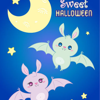 "Halloween Nursery Instant Download Printable art cute sweet girl and boy candy bats in the night sky next to moon and stars ""Candy Bats"""