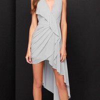 V-Neck Sleeveless Asymmetrical Dress