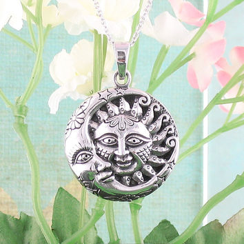 Ornate Sun and Moon Necklace in Sterling Silver