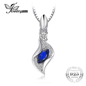 JewelryPalace Fashion 0.38ct Marquise Created Blue Spinel Women Pendant S925 Sterling Silver Fine Jewelry Not Include a Chain