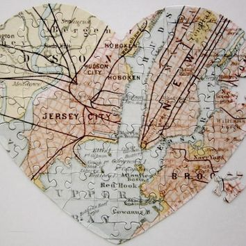 Engagement or Anniversary Puzzle - We Met Here Map!  Heart Shape