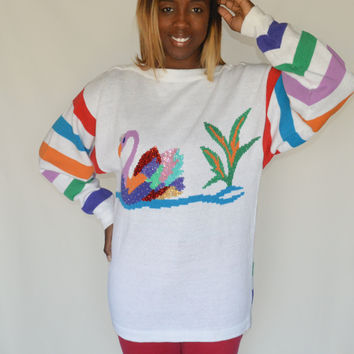 90s Vintage Oversized Sweater Rainbow Stripes Sequin Swan Sping Sweater / One Size Fits All