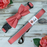 Silky Coral Dog Collar With Removable Bow Tie