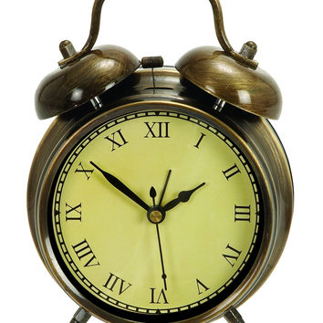 Table Clock In Antique Brass.