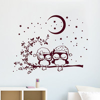 Wall Decals Owl Love Childrens Kids Vinyl Sticker Moon Crescent Stars Owls Wall Decal Nursery Baby Room Bedroom Playroom Owl Decor SV6020