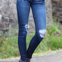 Destroyed Comfort Stretch Skinny Jeans {Dark Wash}