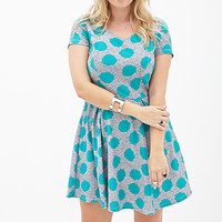 FOREVER 21 PLUS Spotted Fit & Flare Dress White/Teal