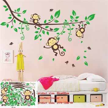 Large size animal wall stickers for kids room decorations monkey owl zoo cartoon decals wall art diy children sticker zooyoo1213 SM6
