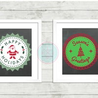 Christmas Printable,Blackboard Season's Greeting And Happy Holidays Prints, Christmas Quote Home Decor Printable Art, Christmas Tree Artwork
