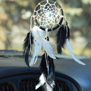 Car Dream catcher,  Black and White Dream catcher, Car Charm, Mini Dreamcatcher, LAPIS LASULI, Turquoise stone , Gift for him, Car Decor.