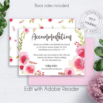 Rose Wreath Accommodation Cards, Bohemian Wedding, Floral, Romantic Invitations, Details Card Wedding, Insert Card, Printable Details