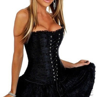Women's Sexy Waist Slimming Overbust spiral boned lace up Corset bustier For Christmas Evening Party Dress Size S-XXL = 1929621700