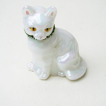 Vintage Fenton Glass Opalescent May Cat with Green Rhinestone Collar - Signed by T. Gaskins