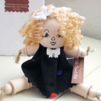 Wooden spool doll, wooden dolll, blonde hair, black dress, shelf sitter, ready to ship, handmade, curly hair, folk art, art doll, Jen, cute