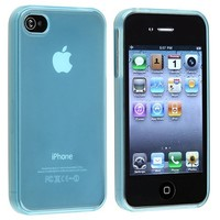 eForCity TPU Rubber Skin Case compatible with Apple® iPhone® 4 / 4S , Clear Frost Light Blue