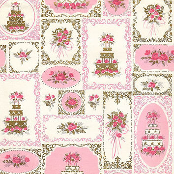 Vintage 1960's Wedding Gift Wrapping Paper Sheet Pink Roses White Wedding Cakes