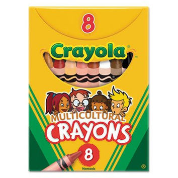 Crayola Multicultural Crayons, Wax, Eight Skin Tone Colors per Box ,Regular size.