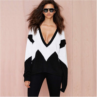 Plunging White and Black Chevron Pullover