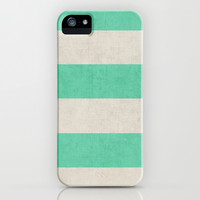 vintage mint stripes iPhone & iPod Case by her art