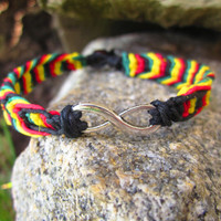 Rasta Infinity Bracelet Hemp Cord Bracelet Macrame Couples Bracelet Hemp Jewelry for Couples