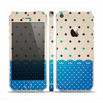 The Tan & Blue Polka Dotted Pattern Skin Set for the Apple iPhone 5s
