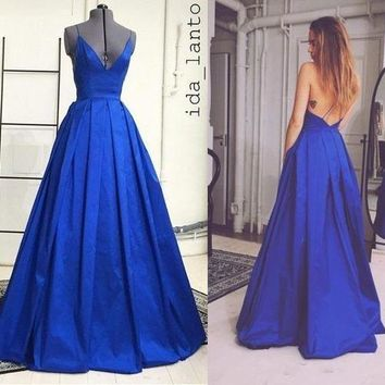 Long Royal Blue Prom Dress, Spaghetti Straps Evening Formal Dresses
