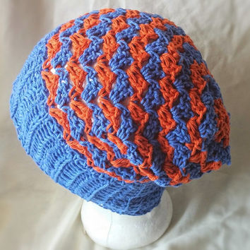 Orange blue Men's Chevron hat Crochet stripes slouchy beanie Ribbed brim  Summer cotton cap