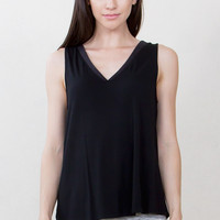 Sugarlips V Neck Sleeveless Black Knit Tank Top