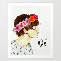 Ashton Irwin 5SOS flower crown Art Print by sandraludvigsen