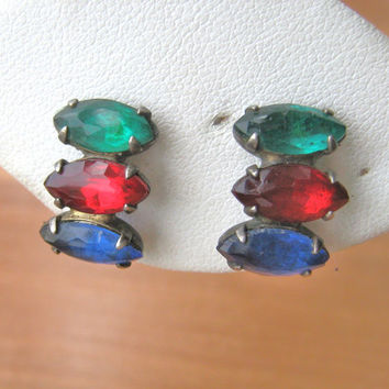 Sterling silver multi colored screw back earrings vintage 1950