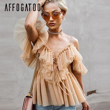 Affogatoo Elegant Womens ruffle strap mesh summer blouse