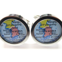 South Korea Map Pendant Cufflinks