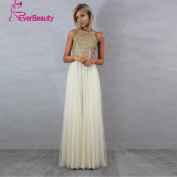 Charmming Sexy  Bridesmaid DressesChiffon Tulle with Top Champagne Gold Sequin 2016 Long Special Occasion Dresses