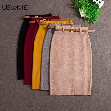 USWMIE Autumn Winter Casual Women High Waist Knee-length Knitted Pencil Skirt Elegant Slim Long Skirts High Quality Skirts Split
