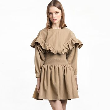 Fashion cute pleated solid color long lantern sleeve  woman's Casual a-line dress