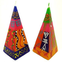 Set of Two Hand-Painted Pyramid Candles - Shahida Design
